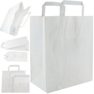 Torba papierowa 26x14x30 cm z uchwytem płaskim - biała